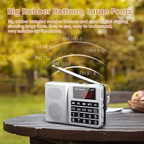 Prunus L-258SW Radio portatile Sw/FM/Am(MW)/SD/TF/USB(0-64 GB) MP3 con altoparlante(Ojo: No se Puede memorizar Las emisoras manualmente).