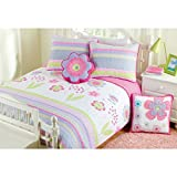 CA 2 Piece Pink White Blossom Floral Quilt Set Twin, Blue Lavender Flower Leaves Printed Boho Chic Hippie Teen Themed Reversible Kids Bedding for Bedroom Eye Catchy Casual Colorful, Cotton