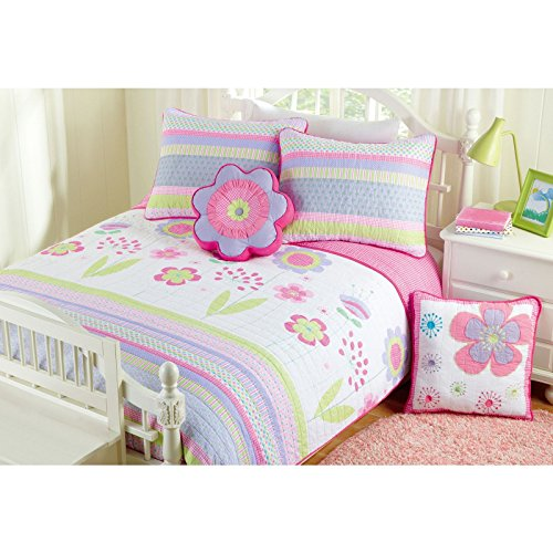 CA 2 Piece Pink White Blossom Floral Quilt Set Twin, Blue Lavender Flower Leaves Printed Boho Chic Hippie Teen Themed Reversible Kids Bedding for Bedroom Eye Catchy Casual Colorful, Cotton by CA