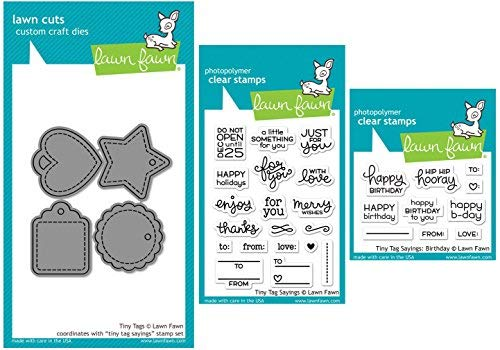 Lawn Fawn - Tiny Tags and Tiny Tags Sayings Trio - Stamps and Die Set - 3 Items