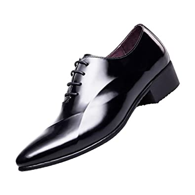 40e4cd948f0f0 Amazon.com | SN Elevator Shoes Men Patent Bright Leather Shoes Get ...