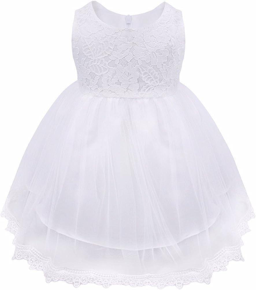 iiniim Baby M/ädchen Kleid Festlich Prinzessin Kleid Blumenm/ädchenkleid Mesh Taufkleid Hochzeit Partykleid Festzug Gr.62-86