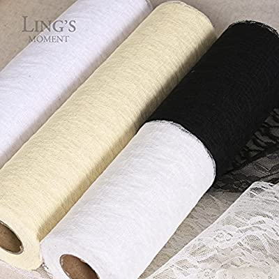Ling's moment Lace Fabric Roll For Chair Sash Ties Table Runner or Craft Sewing DIY Decor, Soft Floral Stretch Lace Fabric Bolt Tulle Roll Spool for Wedding Decoration, Multi-sizes and Multi-colors