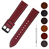 Quick Release Leather Watch Band, Fullmosa 6 Colors Wax Oil 14mm 16mm 18mm 20mm 22mm 24mm Leather Watch Strap,22mm Red+Smoky Grey Buckle-QR
