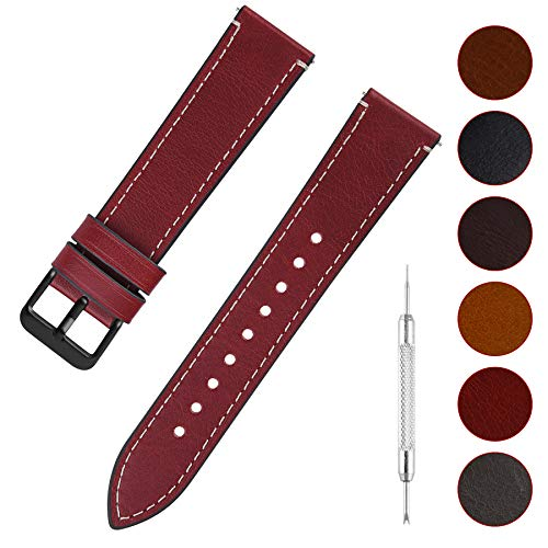 16mm Buckle - Quick Release Leather Watch Band, Fullmosa 6 Colors Wax Oil 14mm 16mm 18mm 20mm 22mm 24mm Leather Watch Strap,16mm Red+Smoky Grey Buckle-QR