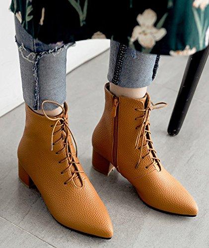 Talon Fashion Aisun Pointu Femme Bloc Lacets Jaune Bottines Bout 5qSqawX