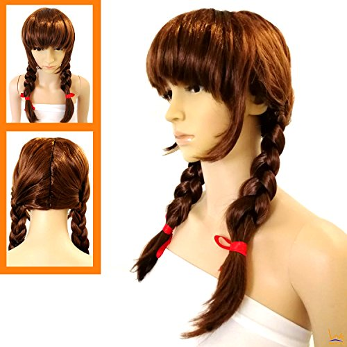 Double Halloween Costumes (Annabelle Style Brown Cosplay Party Wig - Halloween Adult Costume Double Braid Wig)