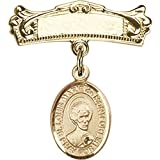 14kt Yellow Gold Baby Badge with St. Louis Marie de Montfort Charm and Arched Polished Badge Pin 7/8 X 3/4 inches