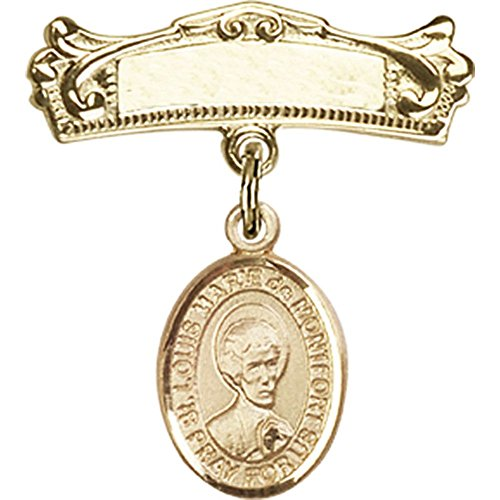 14kt Yellow Gold Baby Badge with St. Louis Marie de Montfort Charm and Arched Polished Badge Pin 7/8 X 3/4 inches by Unknown