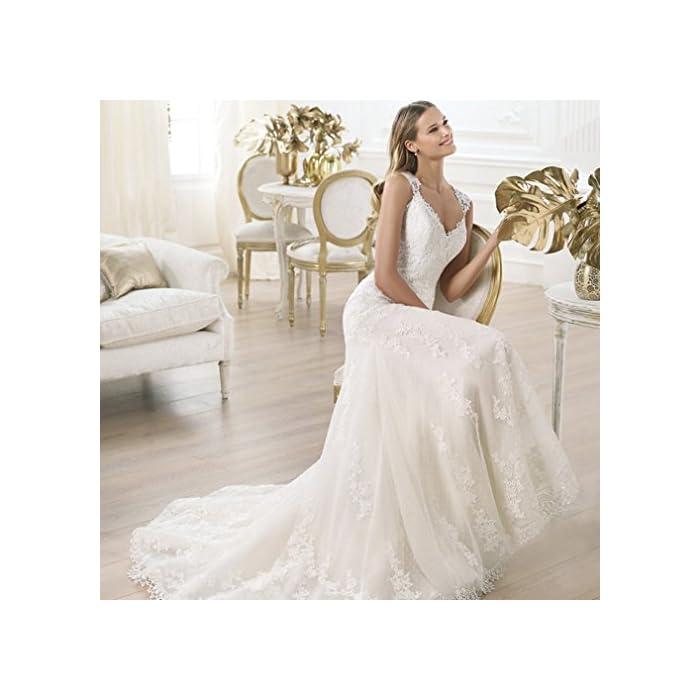 Little PrettyDress New Mermaid Lace Applique Long White Bridal Gowns boho  Wedding Dresses plus size (4, White)