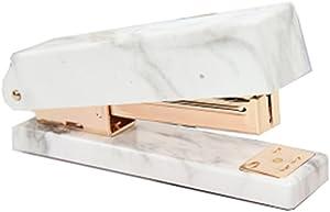 MEI YI TIAN White Marble Stapler Heavy Duty Desktop Staplers Gold Tone for Office Supplies with Non-Slip Base (Marble Gold Stapler)