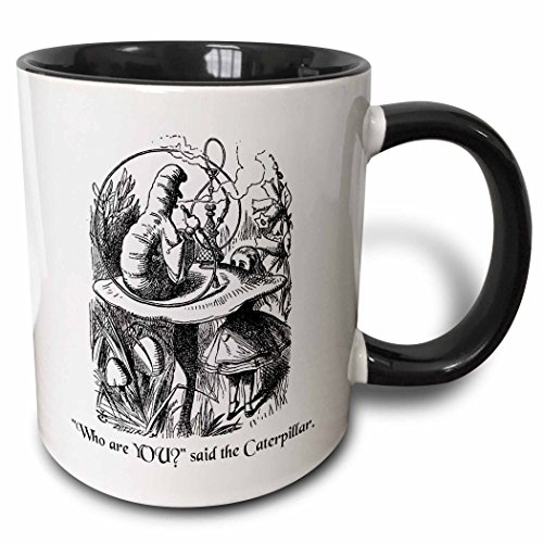 3dRose Who are you - Smoking Caterpillar quote from Alice in Wonderland - Two Tone Black Mug, 11oz (mug_193796_4), 11 oz, (Caterpillar In Alice In Wonderland)
