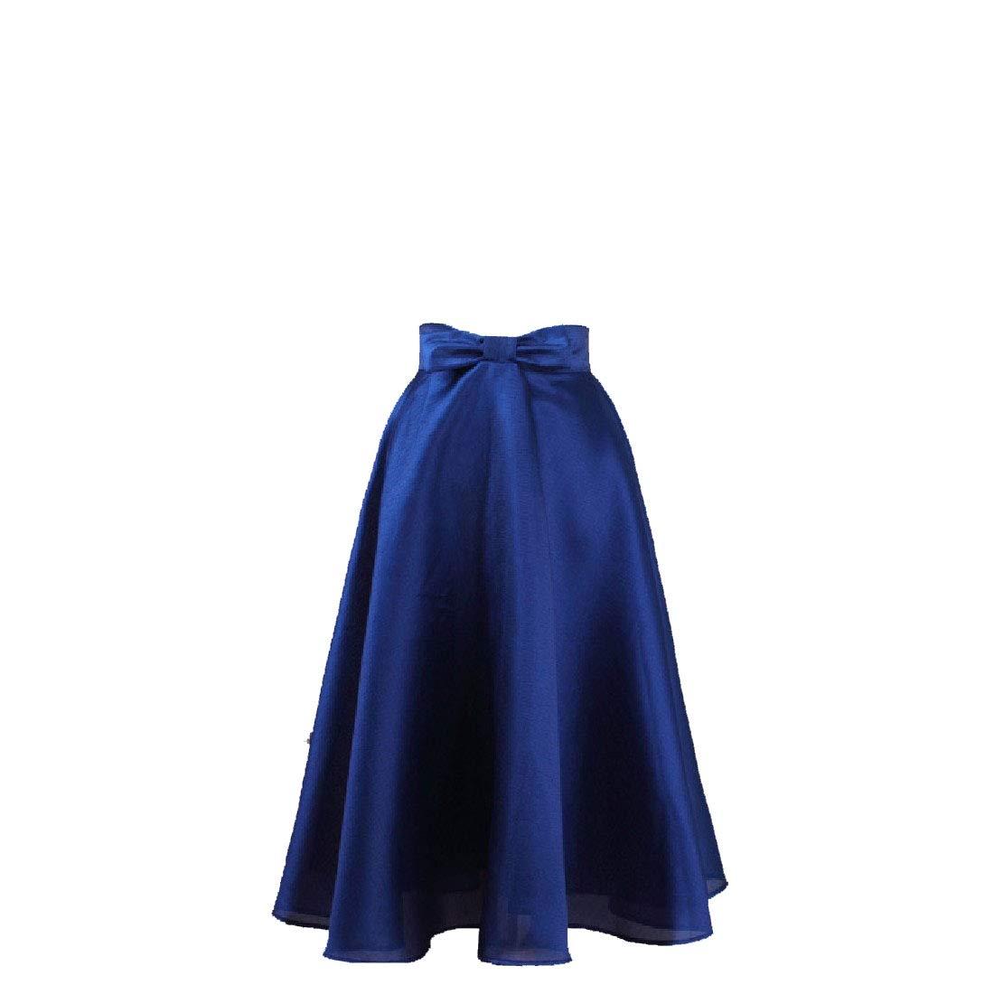 Mfasica Falda de moño de Tiro Alto, Color Liso, Media Larga, para ...