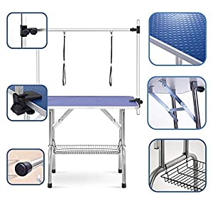 """puppykitty 36"""" Adjustable Folding pet Dog Grooming Table for Large Dogs Durable Stainless Steel pet Dog cat Grooming Table 33"""