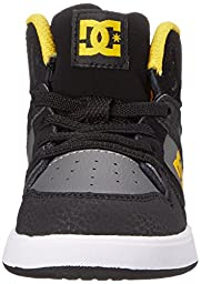 DC Rebound UL Youth Shoes Skate Shoe (Toddler), Black/Grey/Yellow, 7 M US Toddler