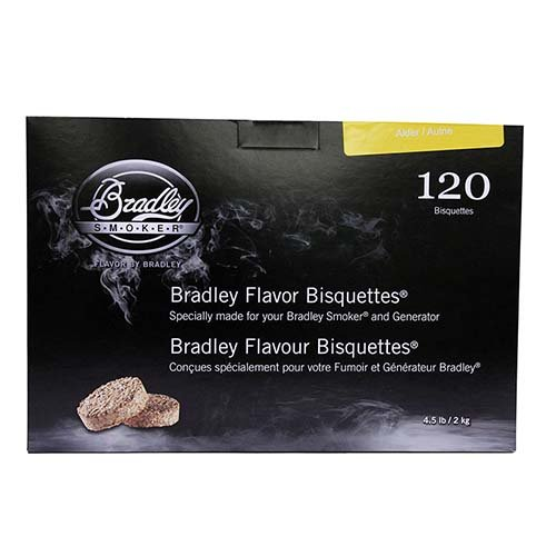 r Bisquettes – Box 120 - Alder (Bradley Smoker Alder Bisquettes)