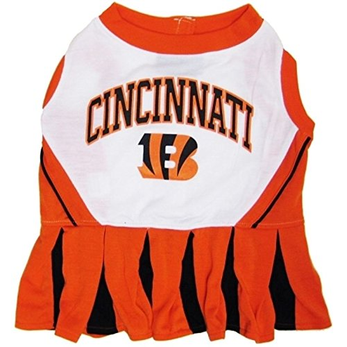 Cincinnati Bengals Cheerleader - Pets First Cincinnati Bengals Cheerleader Dog Dress Outfit Licensed NFL (Medium)