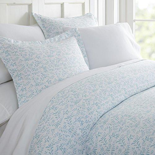 Simply Soft Ultra Soft Burst of Vines Patterned 3 Piece Duvet Cover Set, King, Light Blue