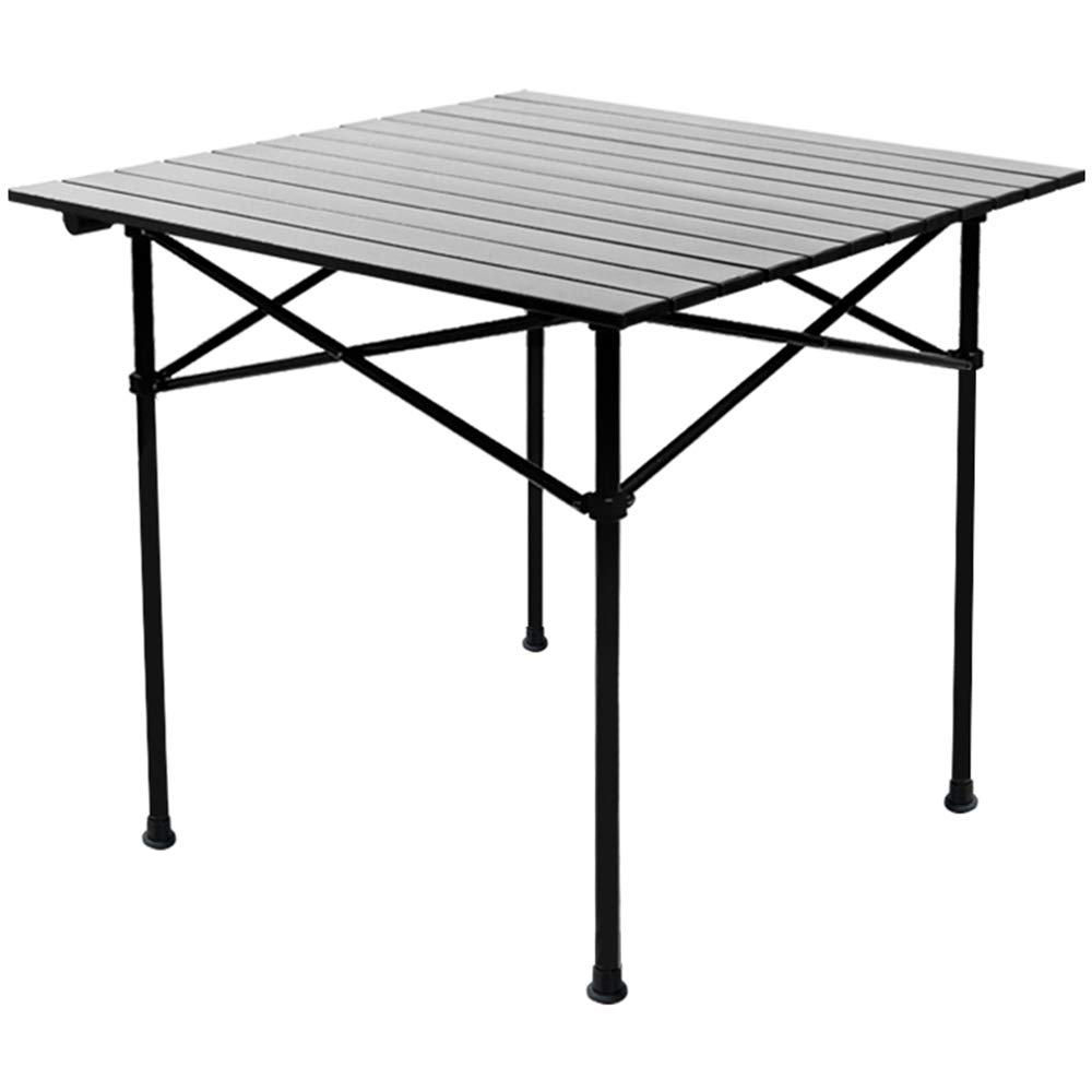 Vfdsvbdv Outdoor Camping Light Portable Aluminum Alloy Folding Table (Color : Black)