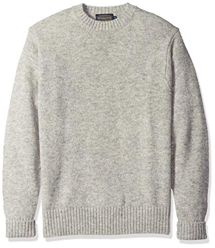 Pendleton Men's Shetland Washable Wool Crew Neck Sweater, X-Small (Grey Heather)