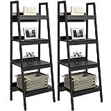 Pair of 4-Shelf Ladder Bookcases- Black, Open Design, Modern, Polished Look,