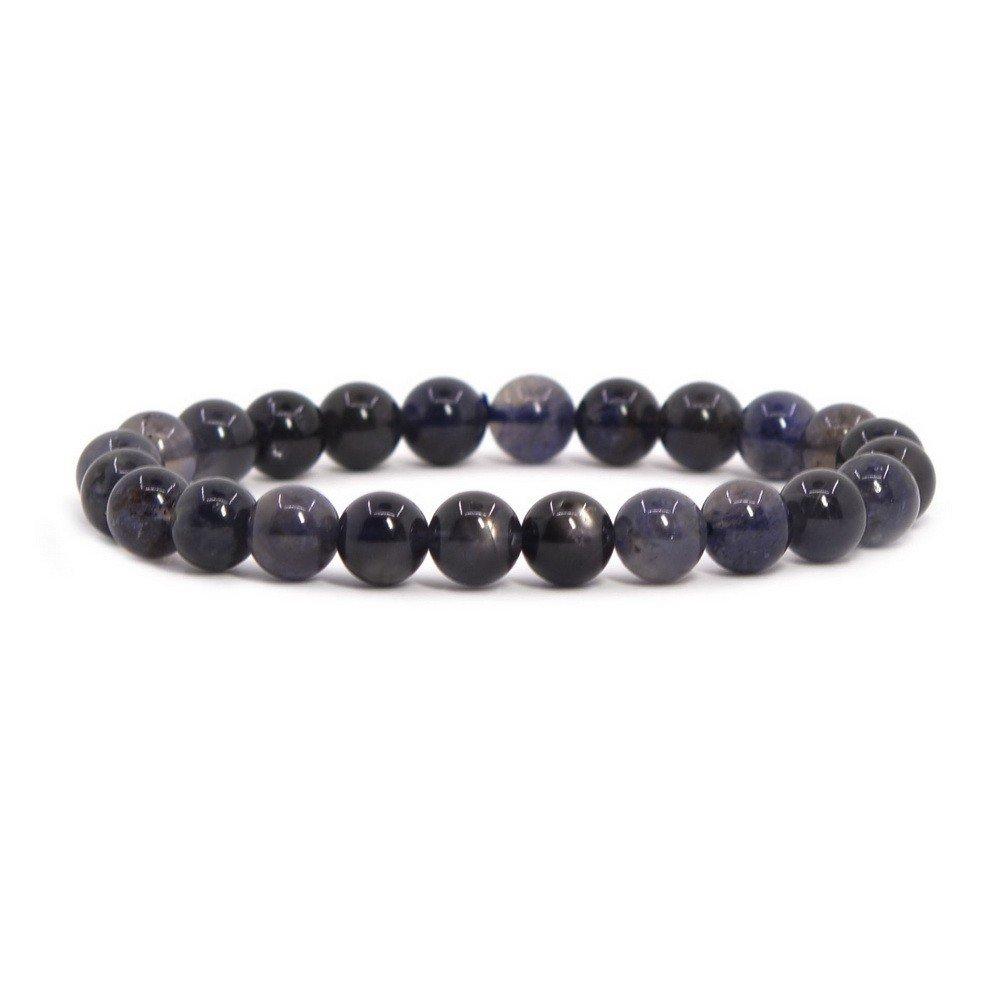 Justinstones Natural Iolite Gemstone 8mm Round Beads Stretch Bracelet 7'' Unisex