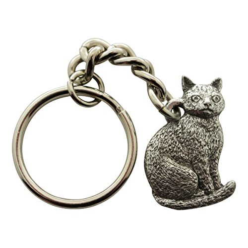 Sitting Cat Keychain ~ Antiqued Pewter ~ Keychain ~ Sarah's Treats & (Antiqued Cat)