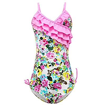 qyqkfly Little/Big Girls One Piece Adjustable Bathing Suit Modest Ruffle Swimwear 2Y-14Y Swimsuit (FBA)