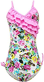 qyqkfly Girls One Piece Adjustable Bathing Suit Hawaiian Ruffle Swimsuit 2Y-14Y (FBA)