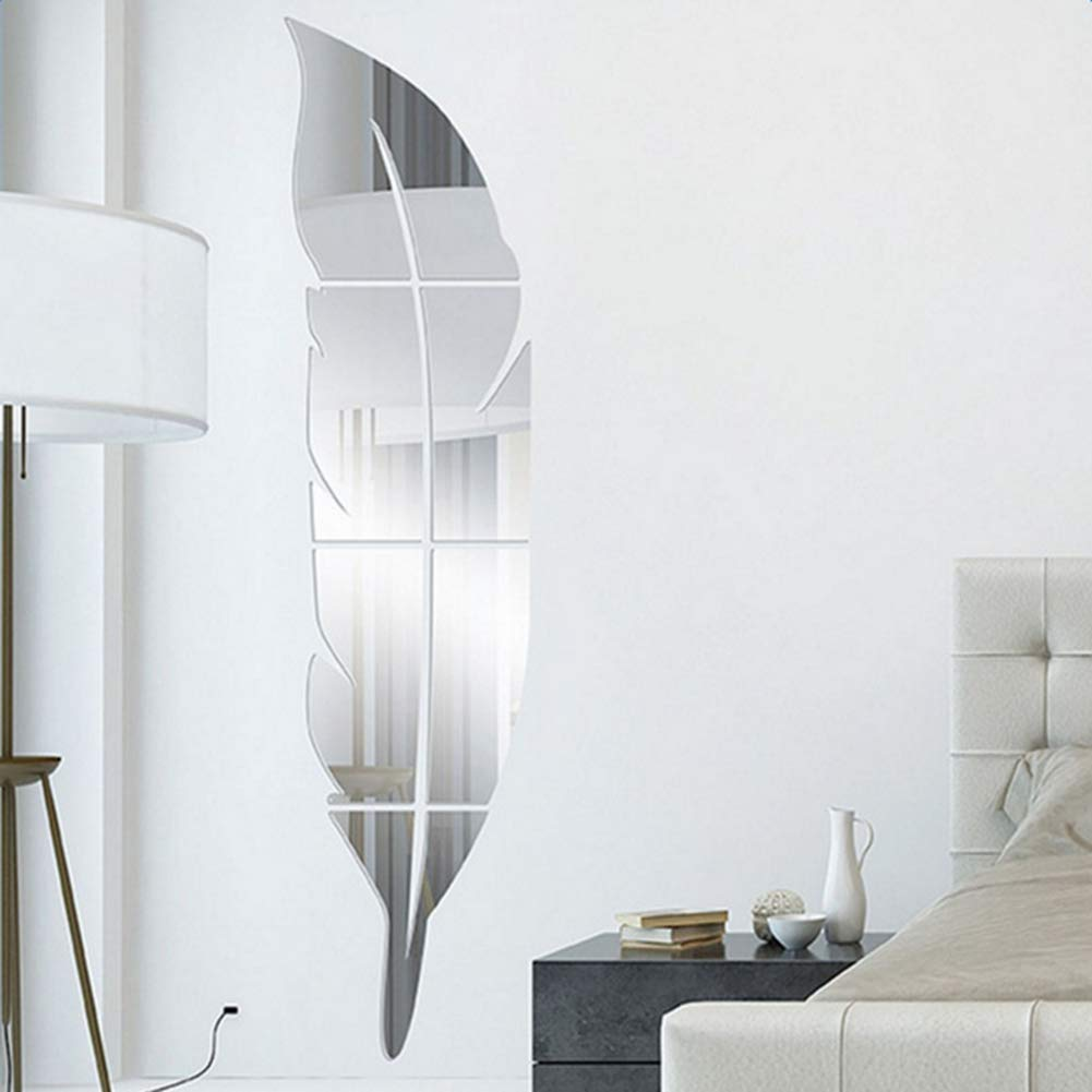 Adarl 1pc Modern Home Decor 3D Acrylic Mirror Feather Wall Stickers Removable Art Decals Mural Living Room Office Decoration Sliver