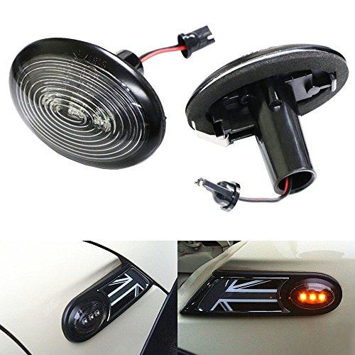 iJDMTOY OEM Fit Black Smoked Side Marker Lamps with Amber LED Lights For 2006-2014 MKII MINI Cooper (2nd Gen)