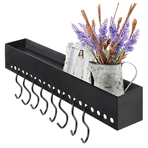 MyGift Modern Metal Floating Wall Shelf with 8 Removable S-Hooks, Dark Gray Bathroom Wall Valet