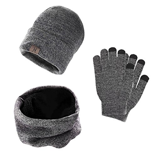 Hat Scarf and Glove Set Winter Warm Thermal Knitted Beanie Hat Neck Warmer and Touchscreen Gloves for Men /& Women