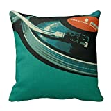 Vinyl Music Turntable Throw Pillows Custom Throw Pillow Case Personalized Cushion Cover Pillowcase Square Pillow Cover 18x18 Cotton Linen