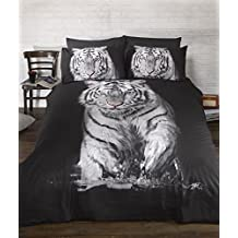 Duvet Cover Sets 3D Animal Print Bedding Pillow Cases Single Double King Size (Single, Tiger) by Highliving