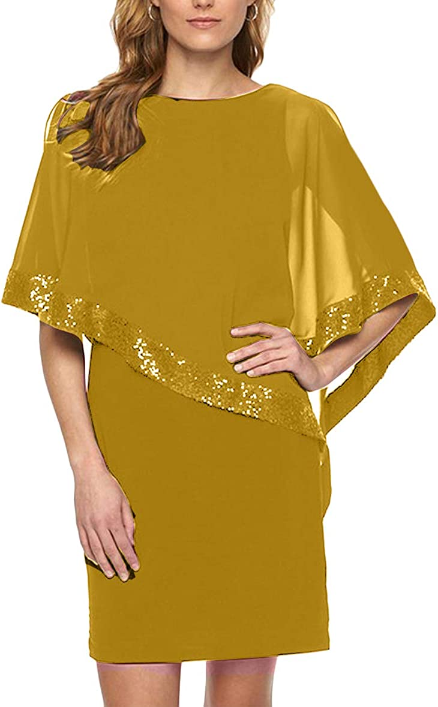 YMING Womens Cocktail Dress with Poncho Chiffon Dress Bodycon Party Dress