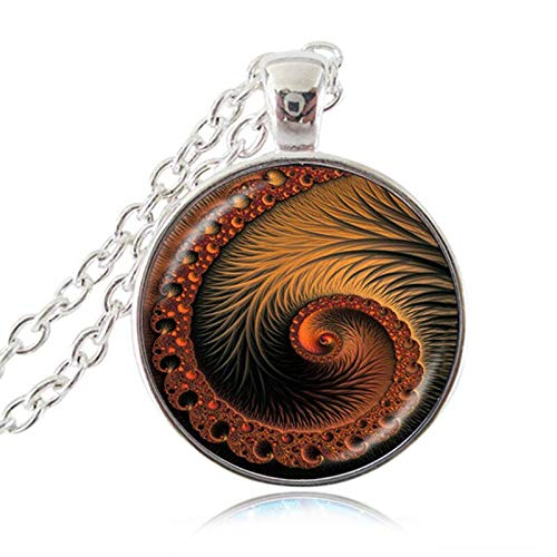 Fibonacci Spiral Necklace Shell Swirls Sacred Geometry Pendant Golden Ratio Jewelry Fractal Charm Accessories Gift for Her