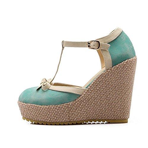 Balamasa Mujeres Empty Hebilla Soft Material Bombas-zapatos Lightblue