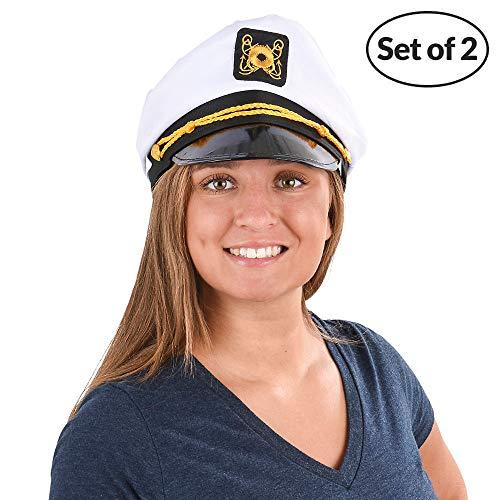 Bedwina Yacht Captain Hat - (Pack of 2) Adult Cruise Ship Nautical Admiral Sailor Navy Cap]()