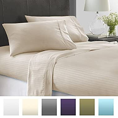 Beckham Hotel Collection Luxury Embossed Stripe Design 4Pc Bed Sheet Set - Queen - Cream/Stripe