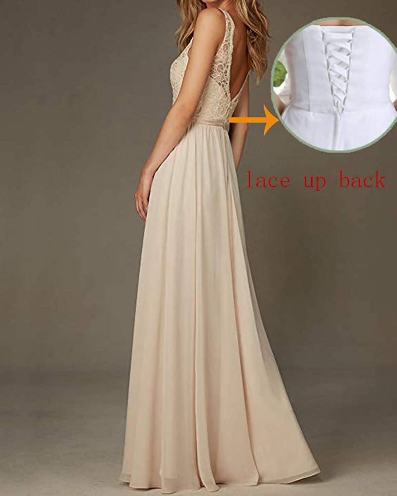 Stylefun Womens Lace Chiffon Bridesmaid Dress Long V Neck Sleeveless Formal Wedding Party Dress BD062