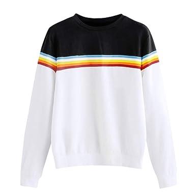 Yvelands Blusas para Mujeres a la Venta, Womens Dresses Solid Color Back Ribbon Ribbon Rainbow Sweatshirt.: Amazon.es: Ropa y accesorios