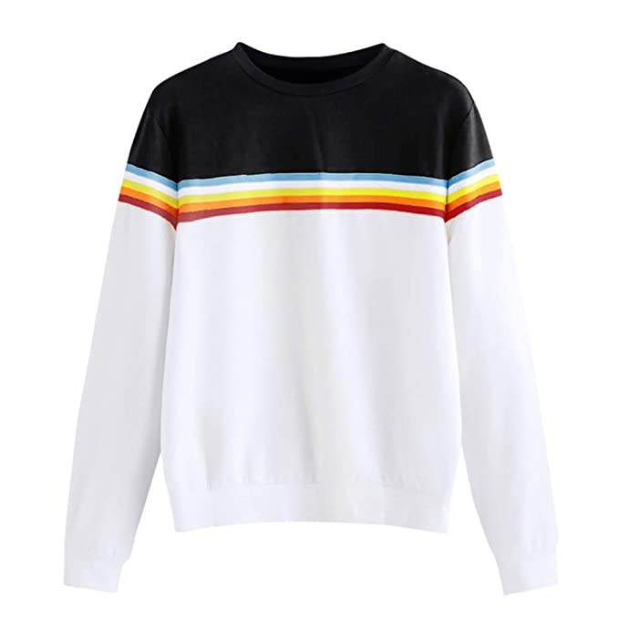 Yvelands Blusas para Mujeres a la Venta, Womens Dresses Solid Color Back Ribbon Ribbon Rainbow Sweatshirt.: Amazon.es: Ropa y accesorios