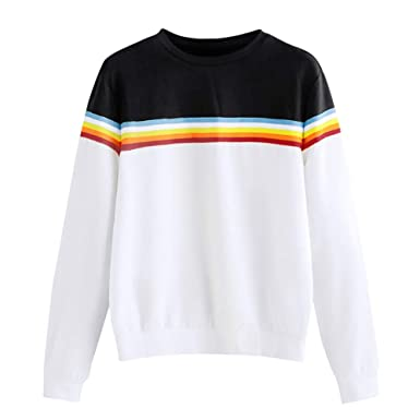 NRUTUP Blouses for Women, Womens Dresses Solid Color Back Ribbon Ribbon Rainbow Sweatshirt.(