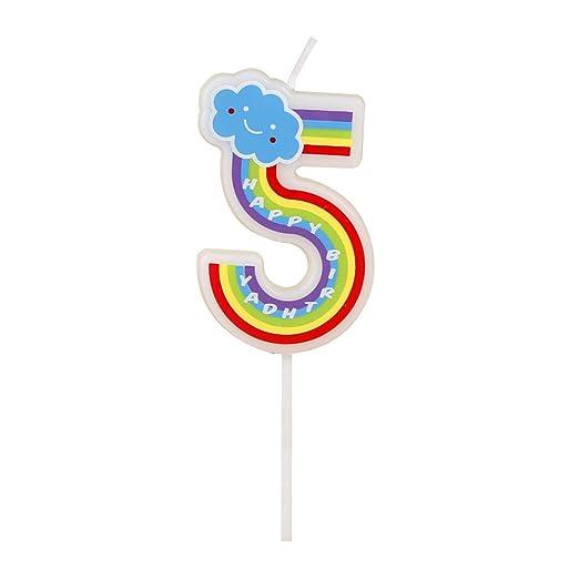Número velas, 5 números, multicolor, velas de feliz cumpleaños para adultos y niños Happy Time