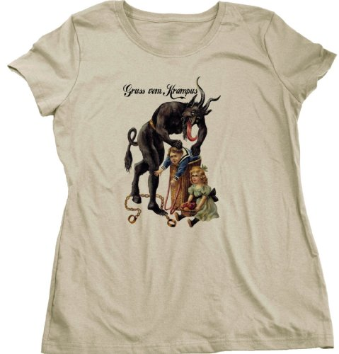Gruss Vom Krampus! | Germanic Christmas Demon Ladies Cut T-shirt