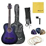 Vault 38C Cutaway Acoustic Guitar with Gig Bag, Strings, Strap, Picks, and String Winder - Violetburst