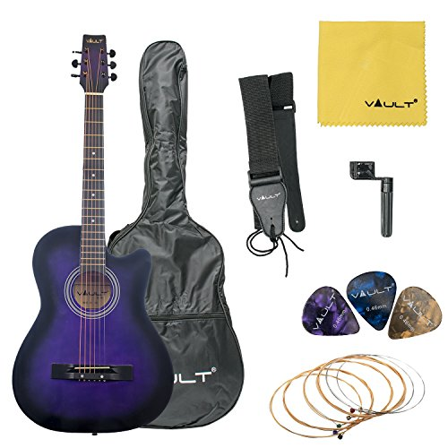 Vault 38C Cutaway Acoustic Guitar with Gig Bag, Strings, Strap, Picks, and String Winder - Violetburst by Vault
