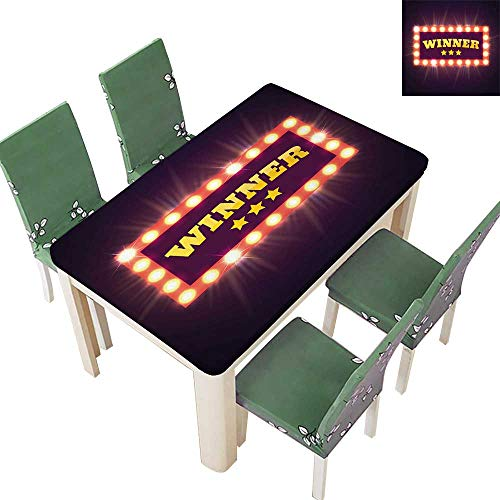 SpillProof Tablecloth Banner Lamps V Tage Cas o Gambl Digital Purple Yellow Salm for Picnic,Outdoor or Indoor 52 x 108 Inch (Elastic - Horn Lamp Italian
