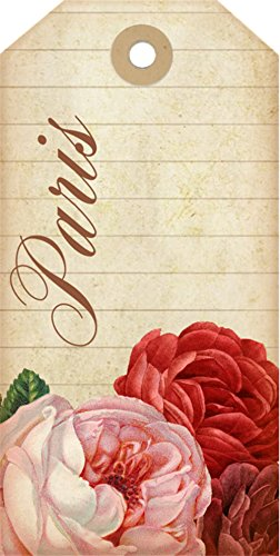 (Laminated 24x48 inches Poster: France French Paris Tag Tags Decorative Scrapbook Roses Vintage Paper Card Design Gift Collage Pink Red Pretty Romantic Artistic Old Writing)